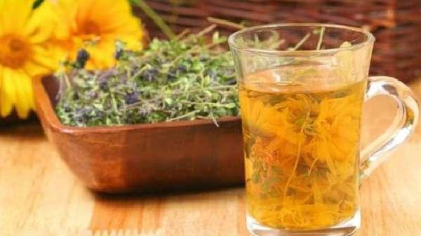 Чабрец и чай с календулой