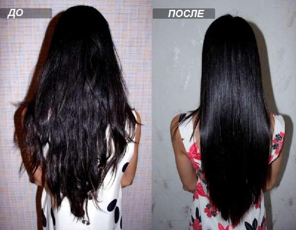 До и после ополаскивания волос бальзамическим уксусом