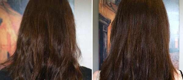 До и после применения касторки для волос
