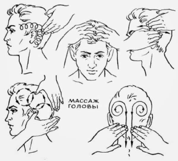Движения для массажа головы